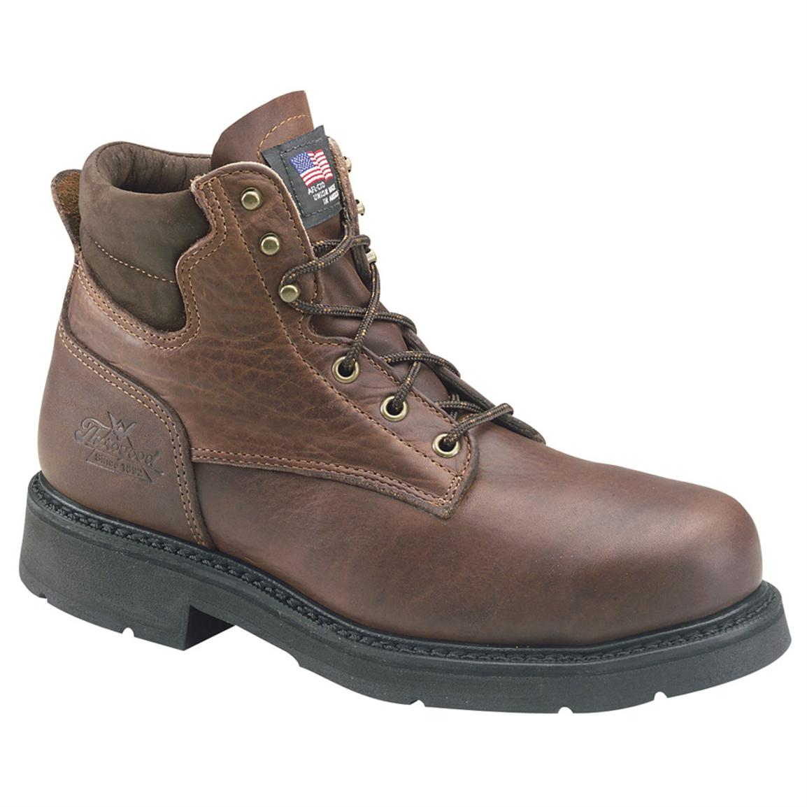 "Men's Thorogood 6"" American Heritage Safety Toe Work Boots, Black Walnut"