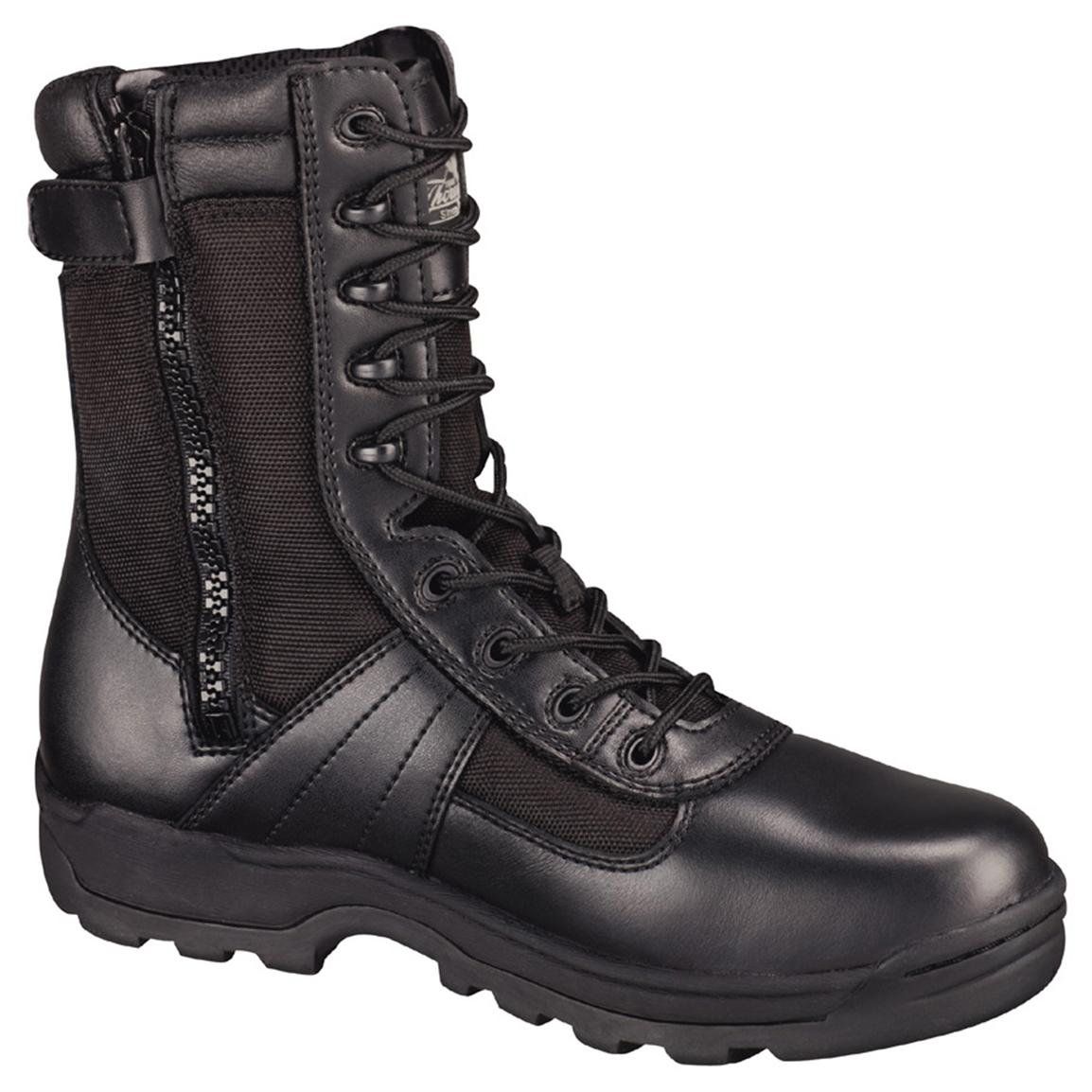 "Men's Thorogood 8"" Waterproof Side-Zip Composite Safety Toe Combat  Boots, Black"