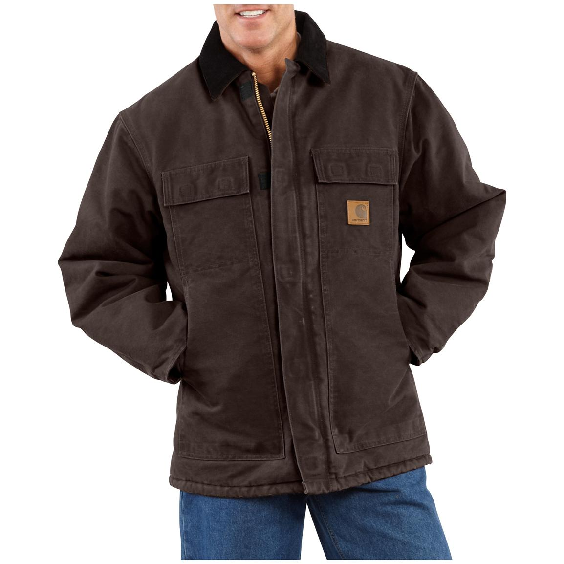 Carhartt Men's Sandstone Arctic Quilt Lined Traditional Coat, Dark Brown
