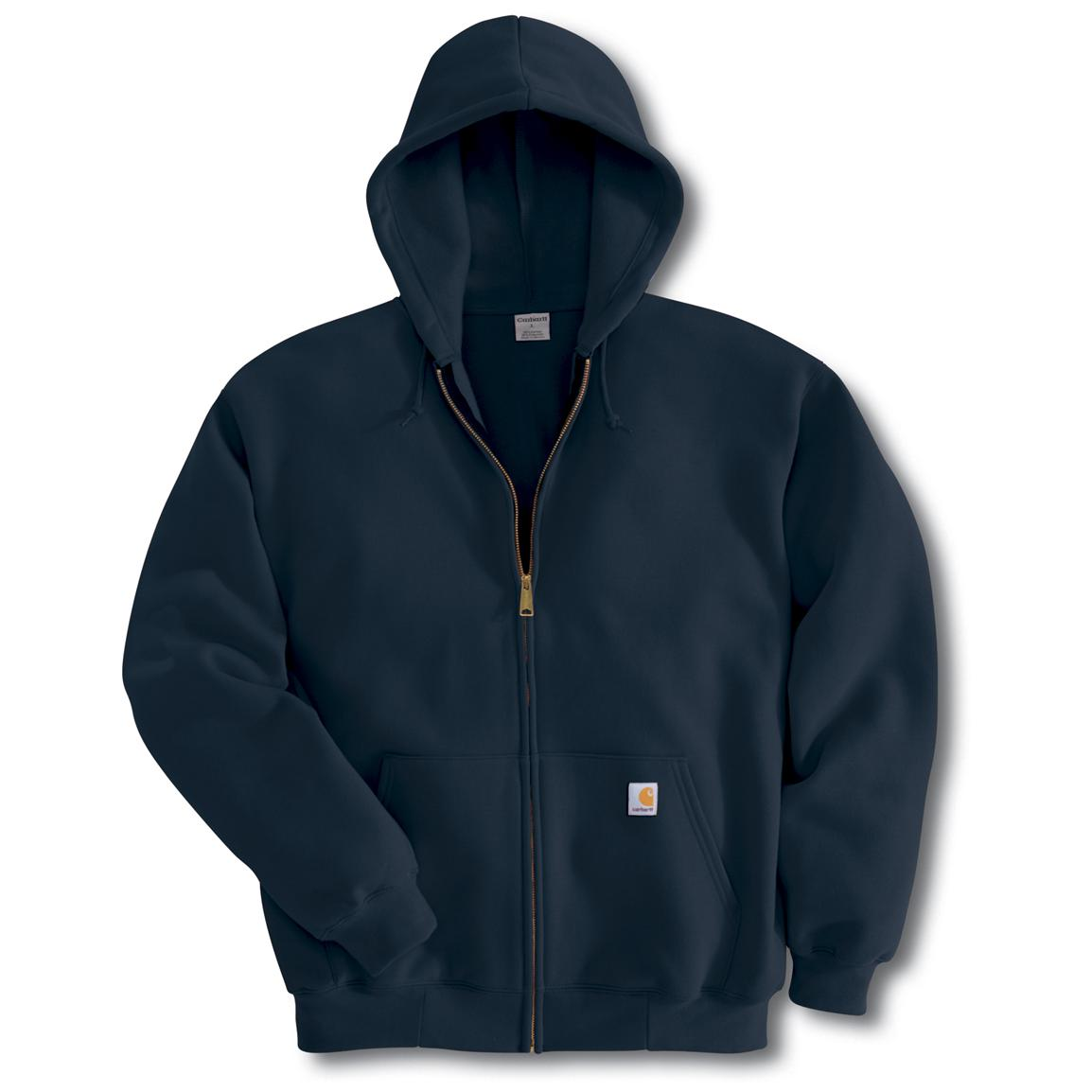 Carhartt Midweight Zip-Front Hooded Sweatshirt, Navy (Slight Irregulars)