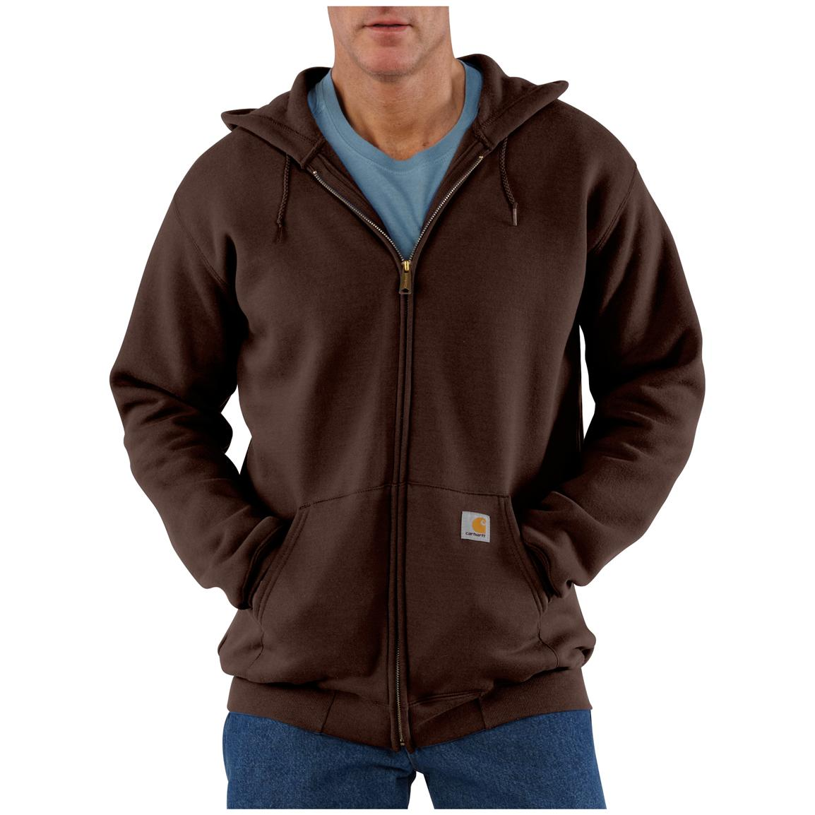 Carhartt® Midweight Hooded Zip-Front Sweatshirt, Dark Brown