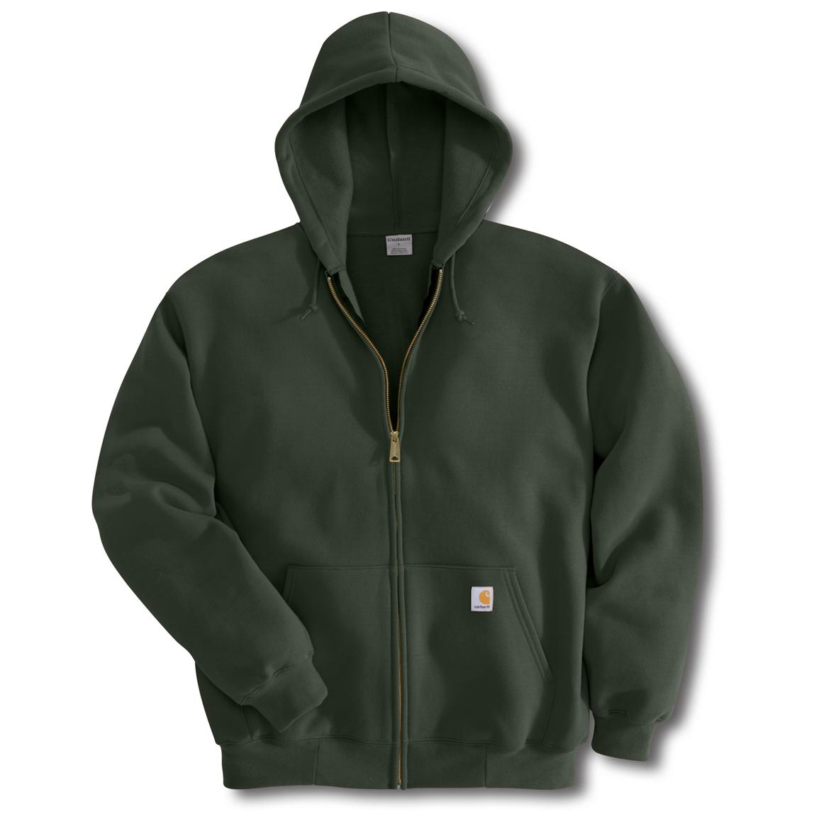 Carhartt Midweight Zip-Front Hooded Sweatshirt, Olive Green (Slight Irregulars)
