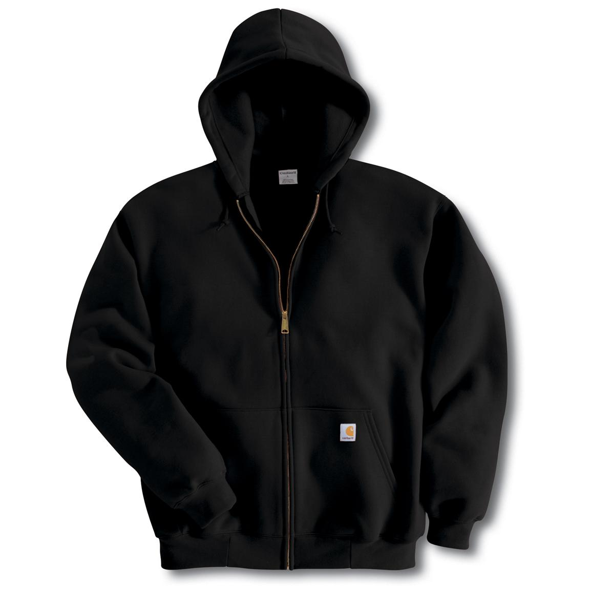 Carhartt Midweight Zip-Front Hooded Sweatshirt, Black (Slight Irregulars)
