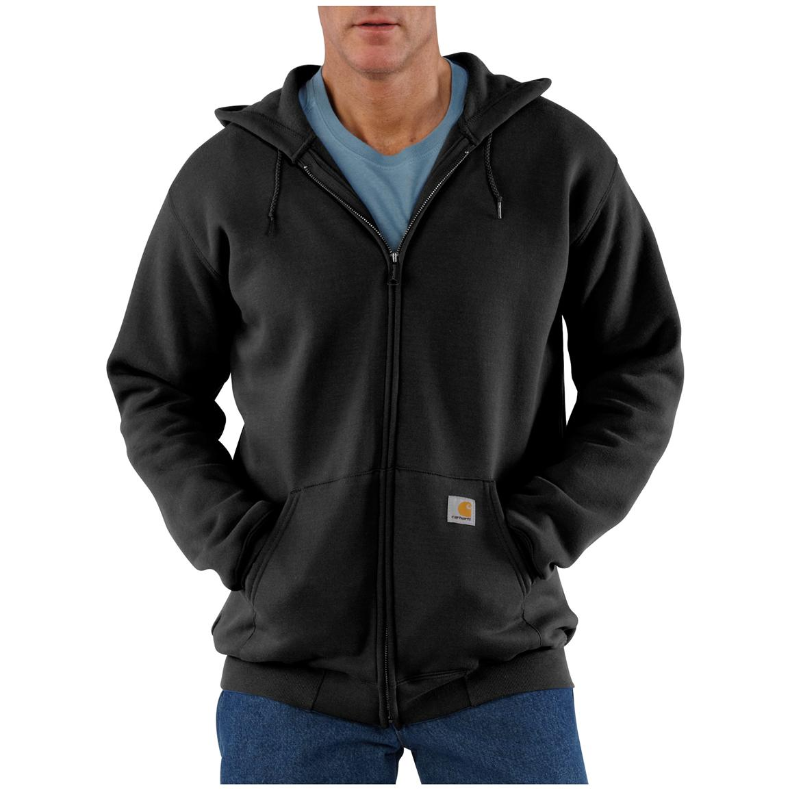 Carhartt® Midweight Hooded Zip-Front Sweatshirt, Black