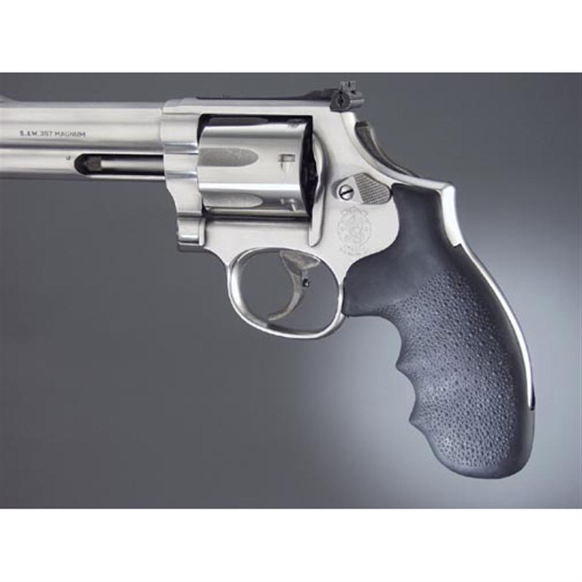 Hogue Monogrip Soft Rubber Grips With Finger Grooves, Smith & Wesson K or L Frame Round Butt