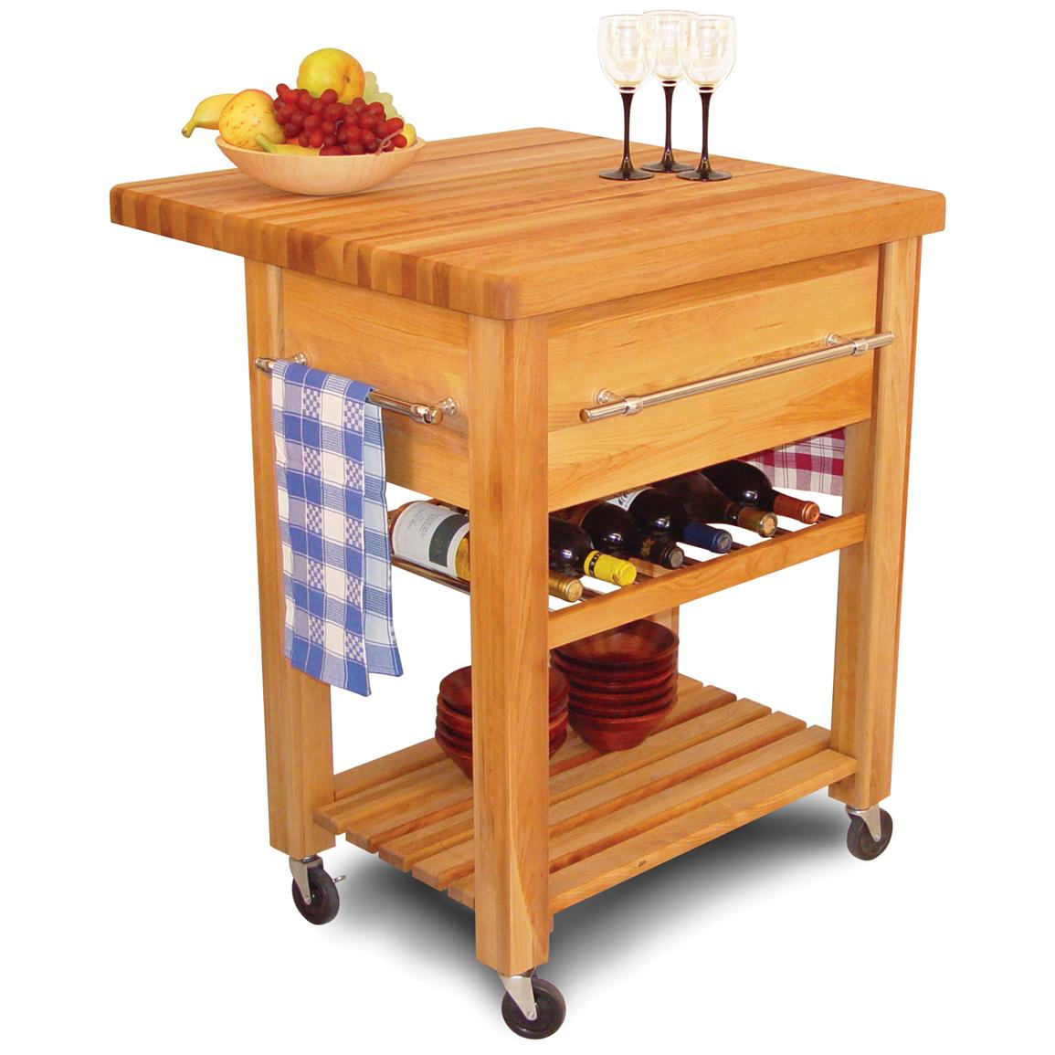 Baby Grand Workcenter with Drop Leaf & Wine Rack