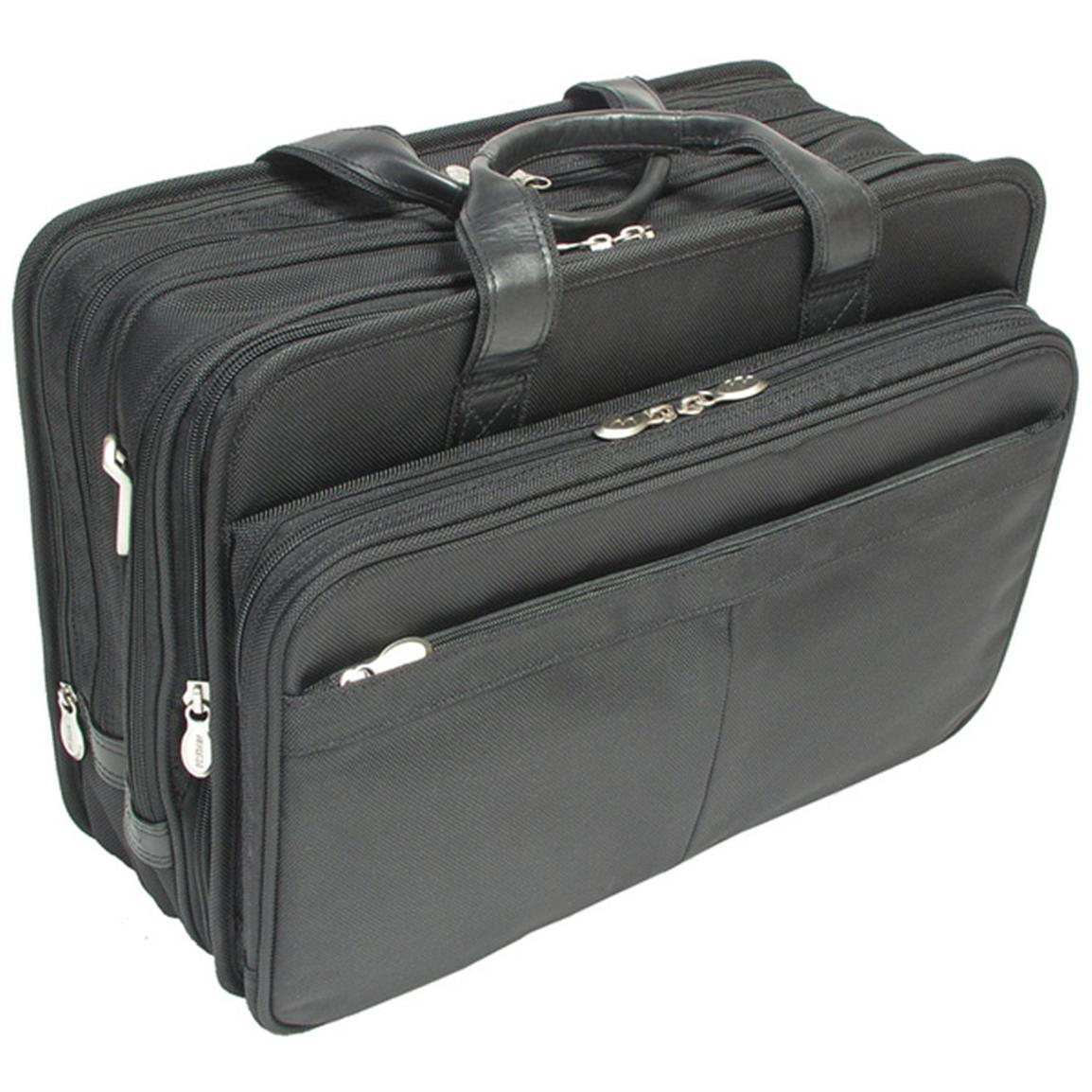 "McKlein USA C Series Walton Nylon Expandable Double Compartment 17"" Laptop Case with Removable Sleeve, Black"