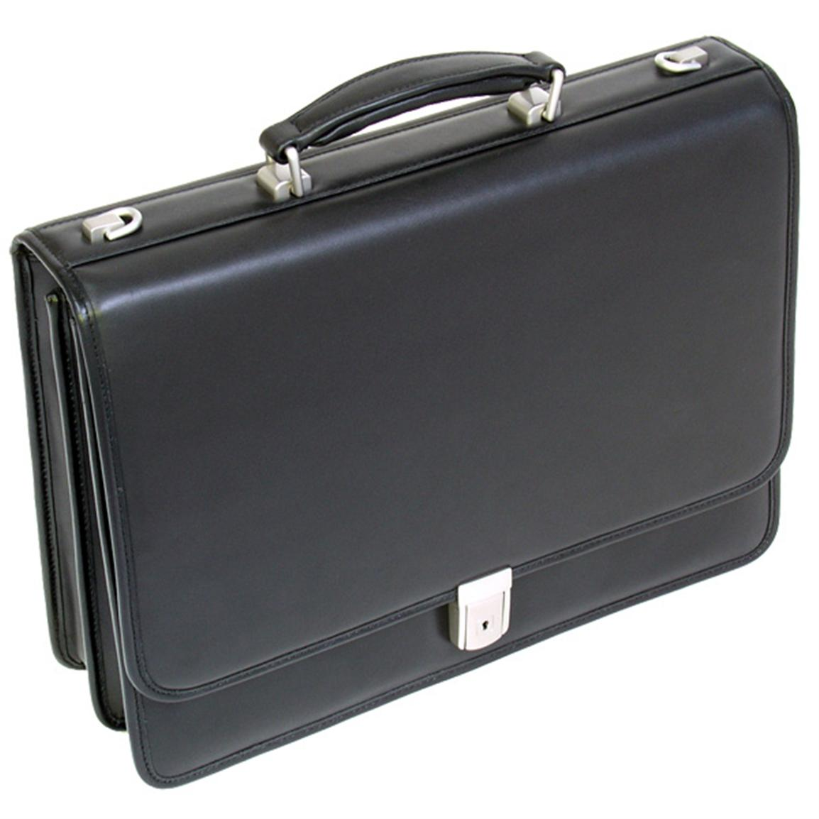 McKlein USA I Series Bucktown Double Compartment Leather Briefcase, Black