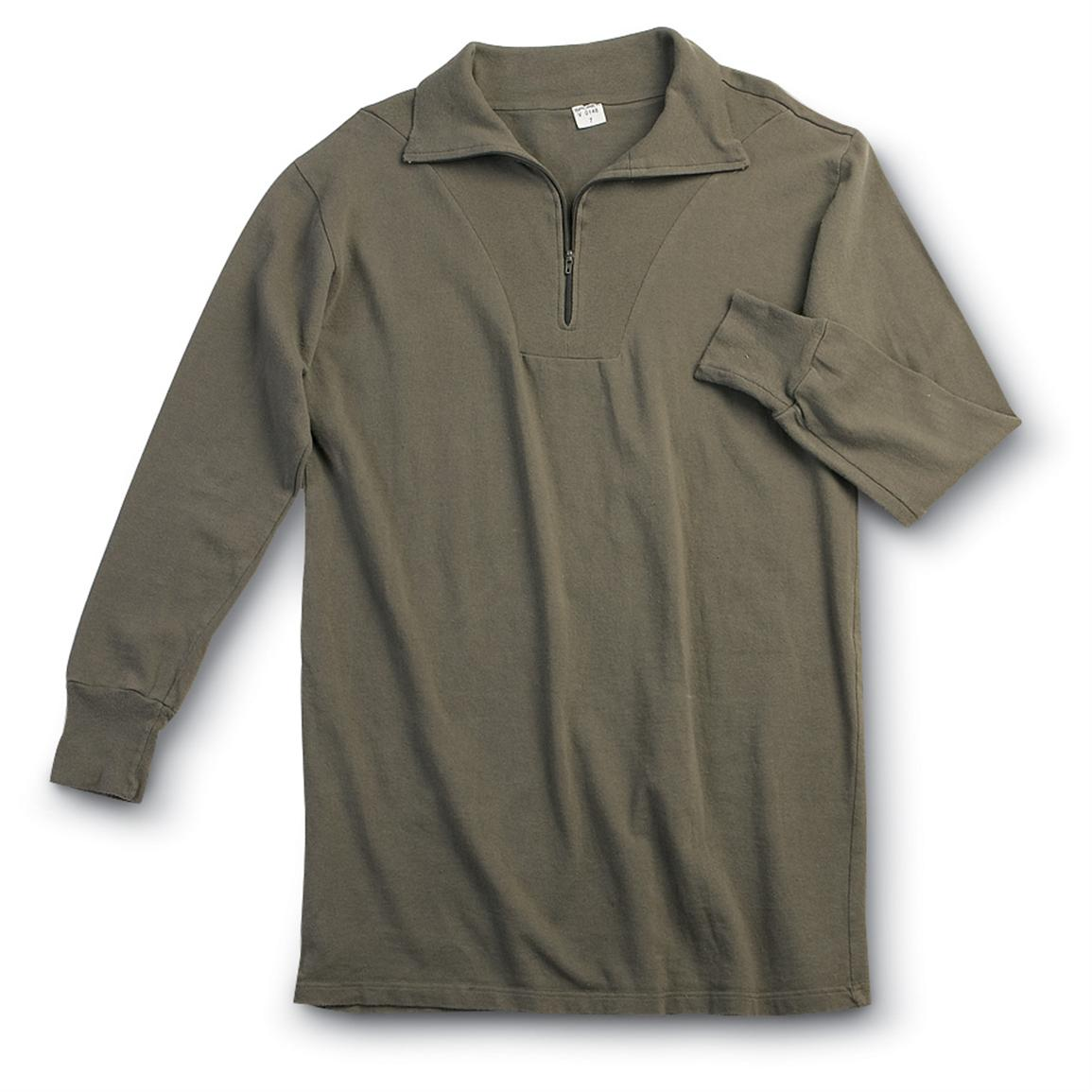 10 Used German Military surplus Tricot Shirts, Olive Drab