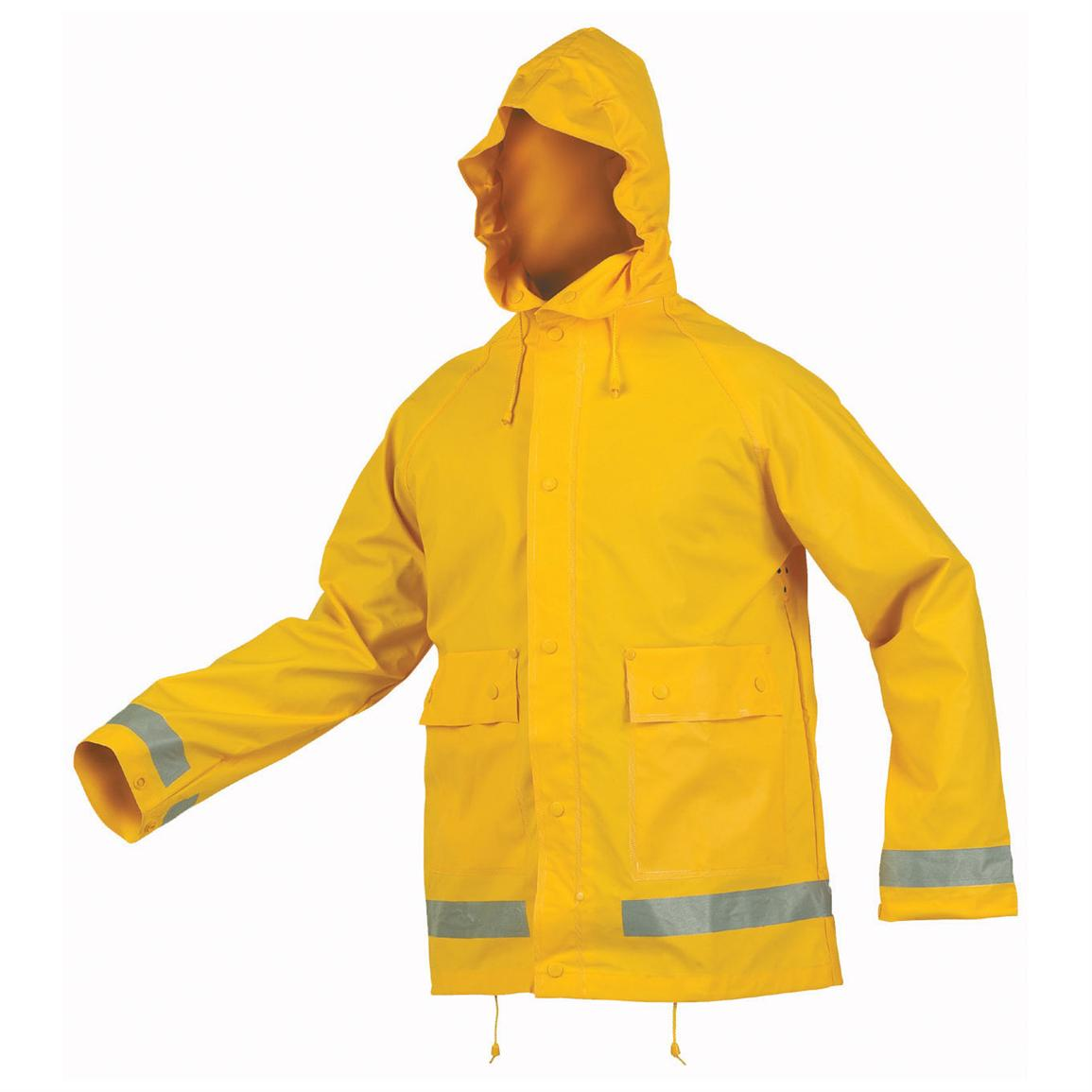 Storm Rain Jacket with Reflective Tape, Yellow