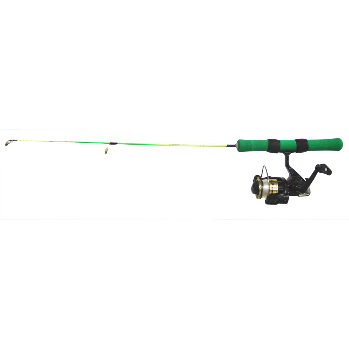 "25"" Neon Extreme Medium or Light Action Ice Fishing Rod Combo, Green / Chartreuse"