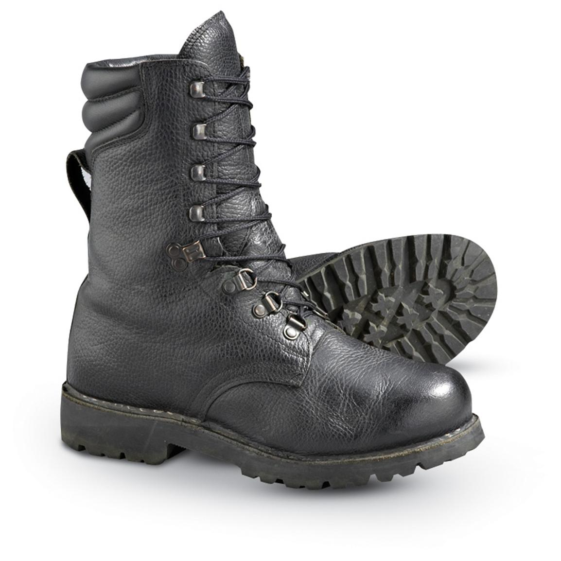 Used German Military Combat Boots, Black