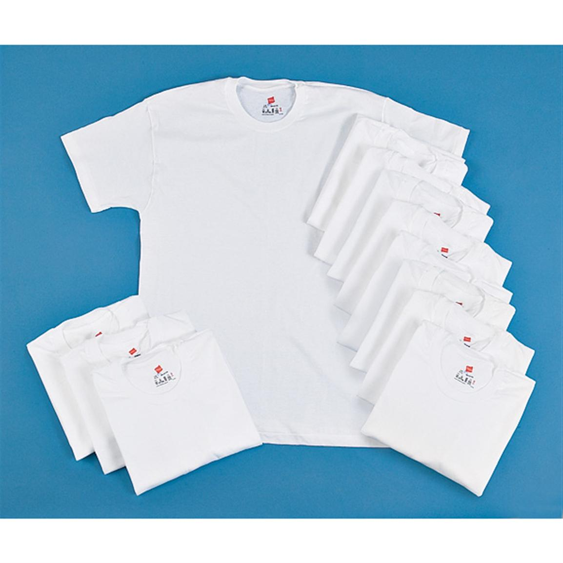 12 New Cotton Crew-neck T-shirts, White