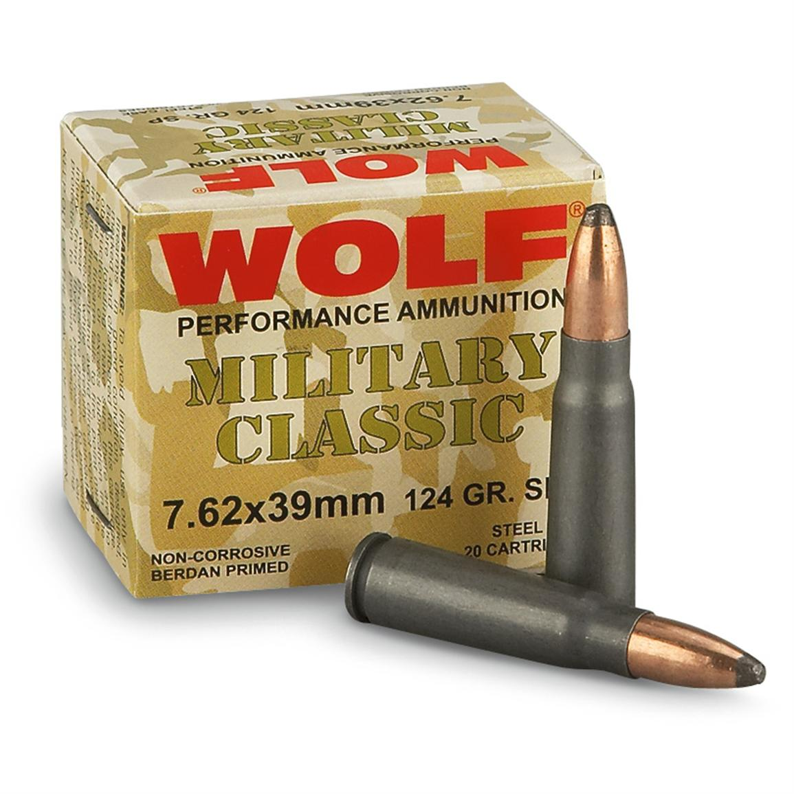 Wolf, 7.62 x39, SP, 124 Grain, 240 Rounds