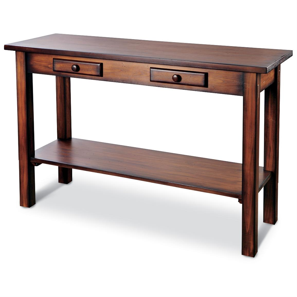 Solid wood rustic console table  living room at