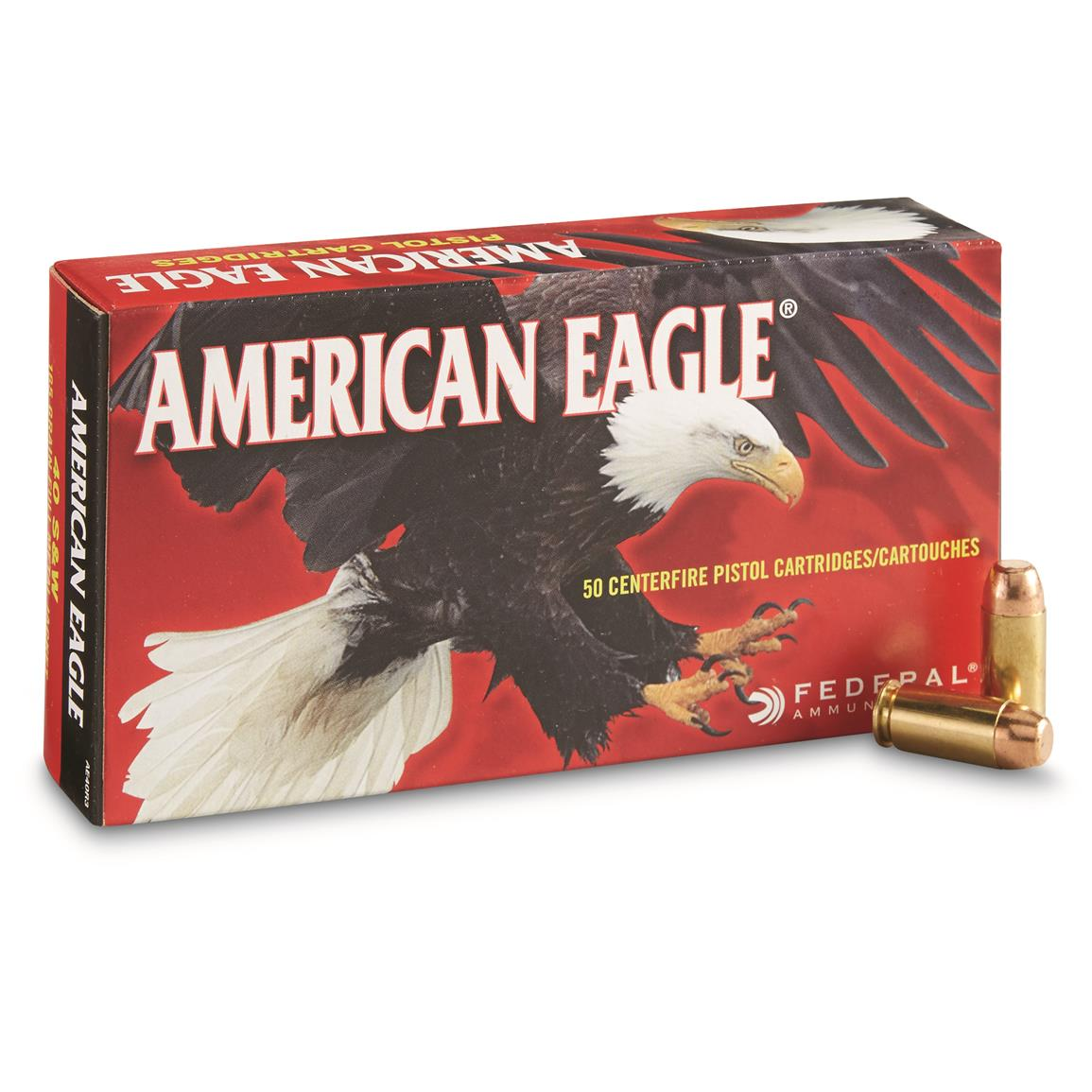 Federal American Eagle, .40 Smith & Wesson, FMJ, 165 Grain, 50 Rounds