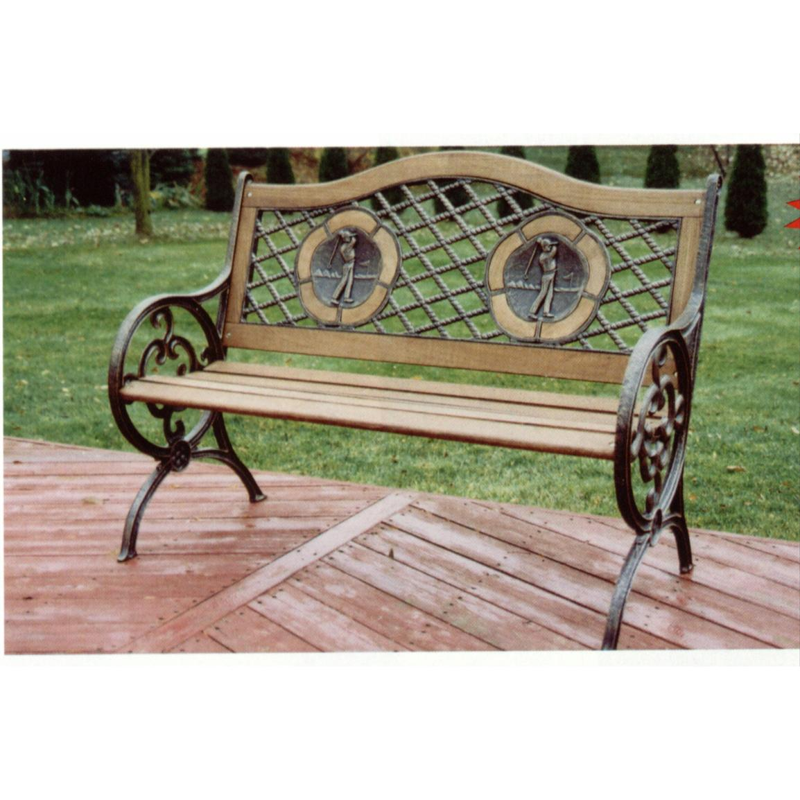 Oakland Living Golfer Bench with Wooden Slats