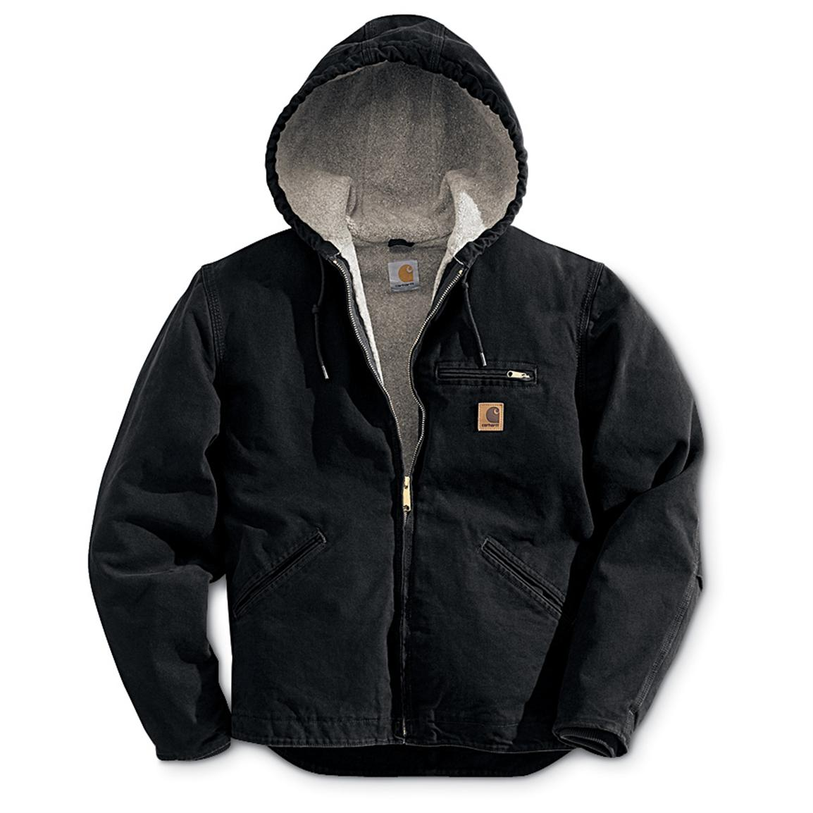 Carhartt Sandstone Sierrra Hooded Workwear Jacket, Black