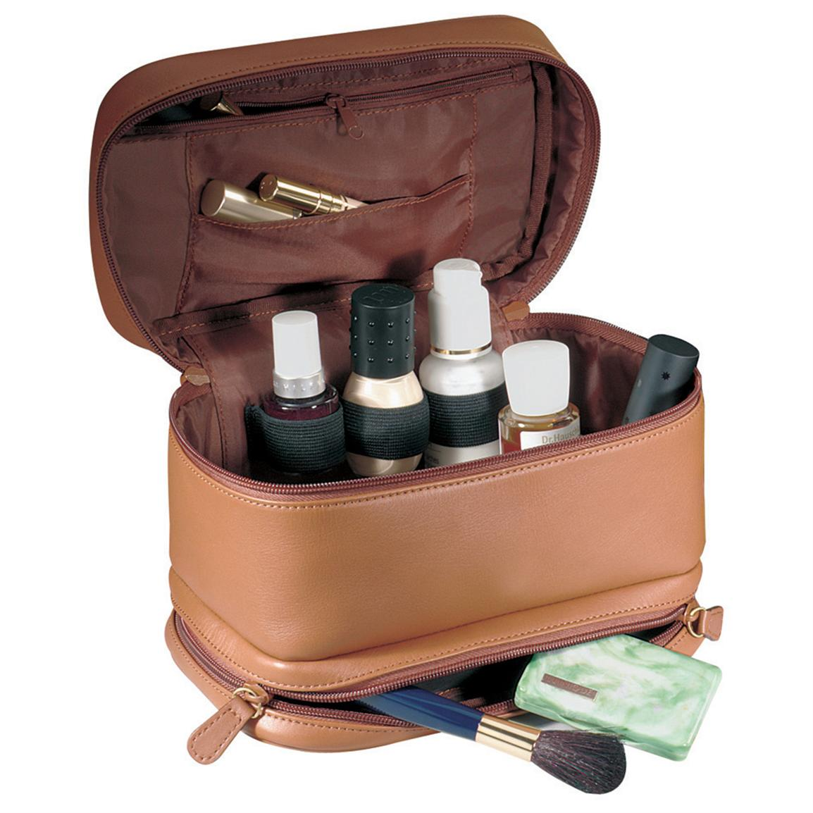 Royce Leather Women's Cosmetic Travel Case, Tan