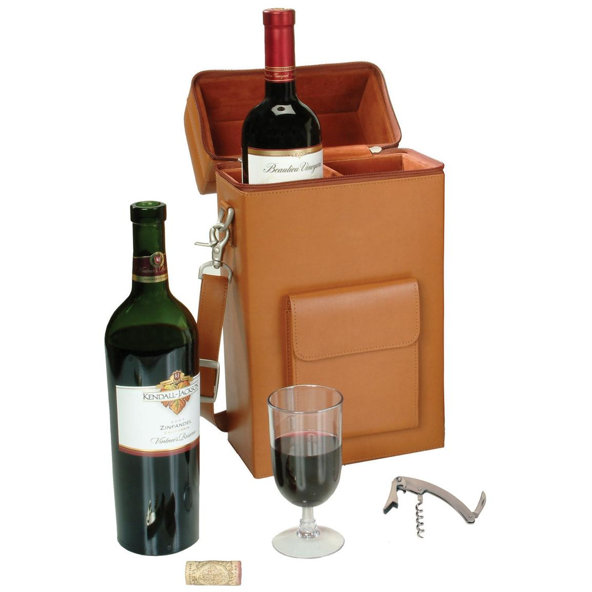 Royce Leather® Connoisseur Wine Carrier, Tan