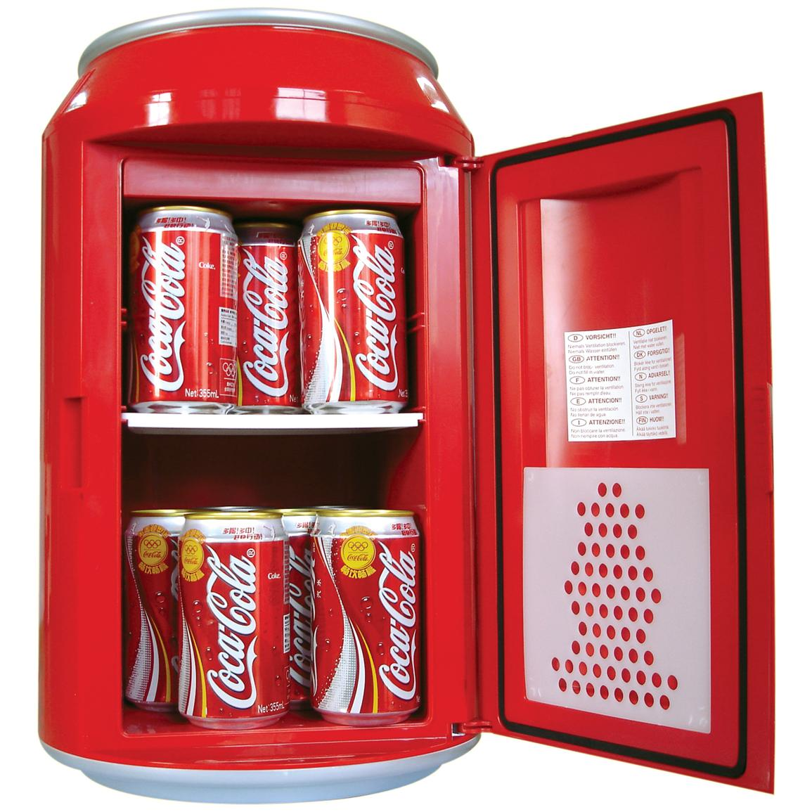 It holds up to ten 12-oz. cans of soda or beer