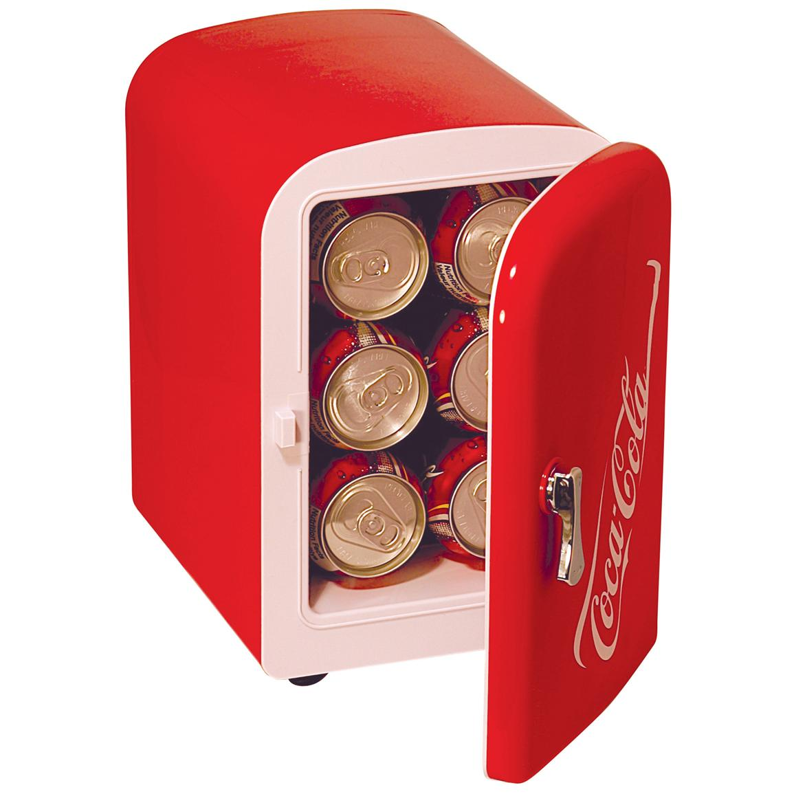 It holds up to six 12-oz. cans of soda or beer