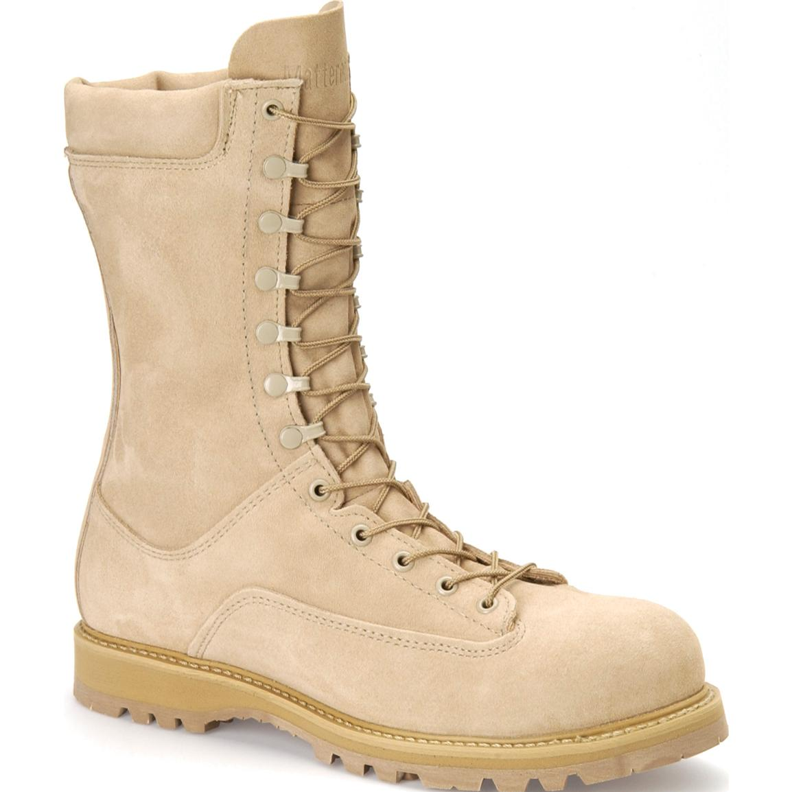 "Matterhorn 10"" 400-gram Thinsulate Insulation Desert Tan Leather Field Combat Boot with Protective Toe"