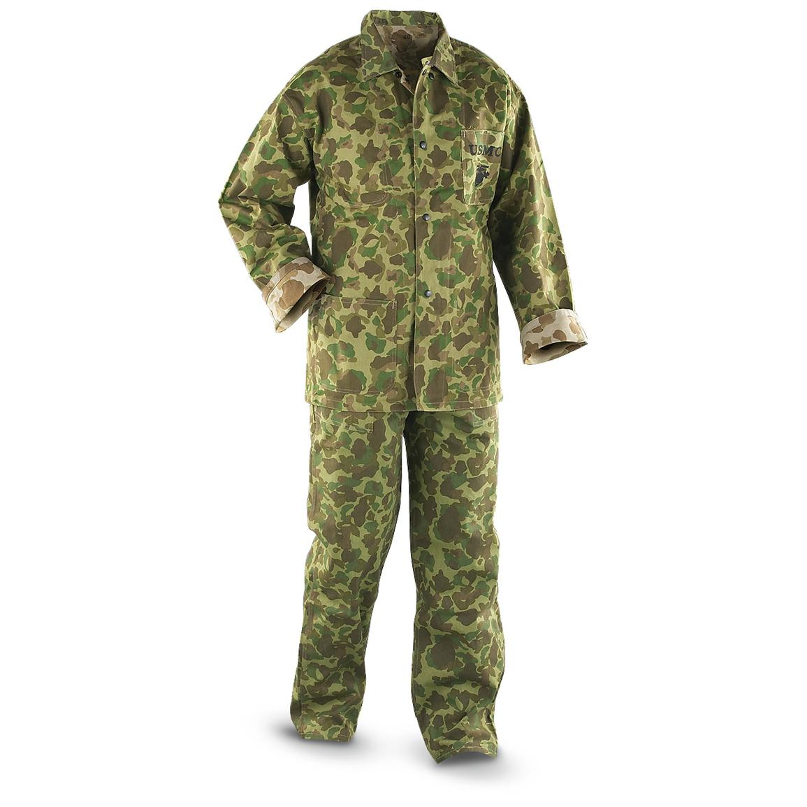 Reproduction USMC Military Surplus WWII Jungle Fatigue Top and Bottom, Reversible Jungle Camo