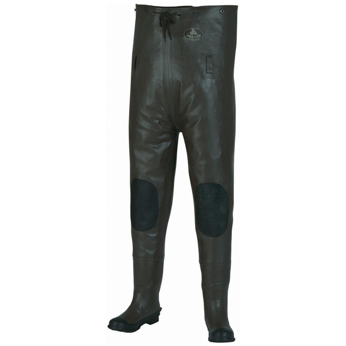 Pro Line Men's Stream Rubber Chest Waders, Cleated, Brown