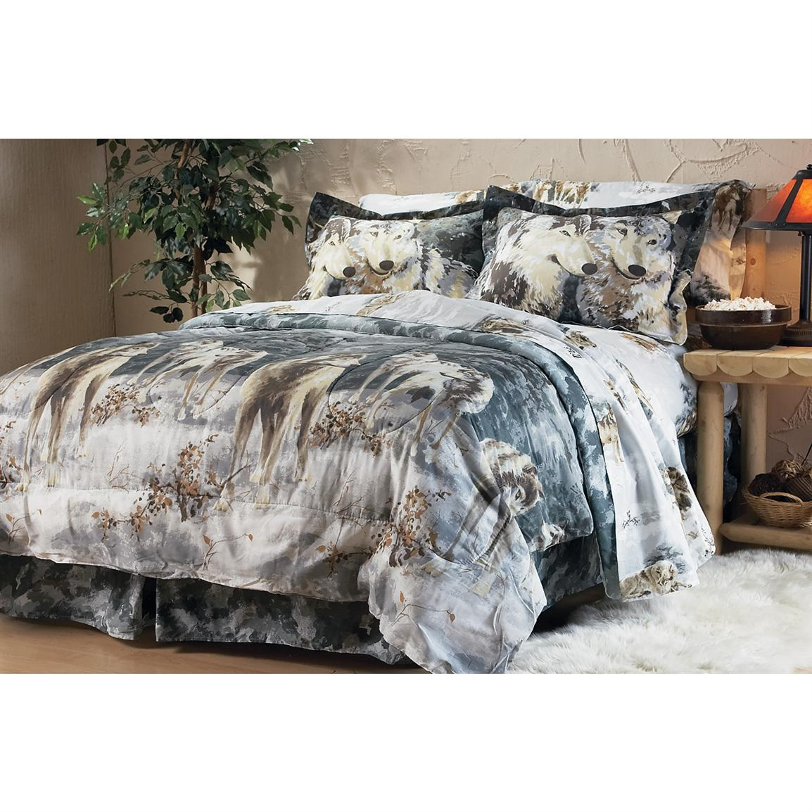Gray Wolf Comforter Set 132423 Comforters At Sportsman