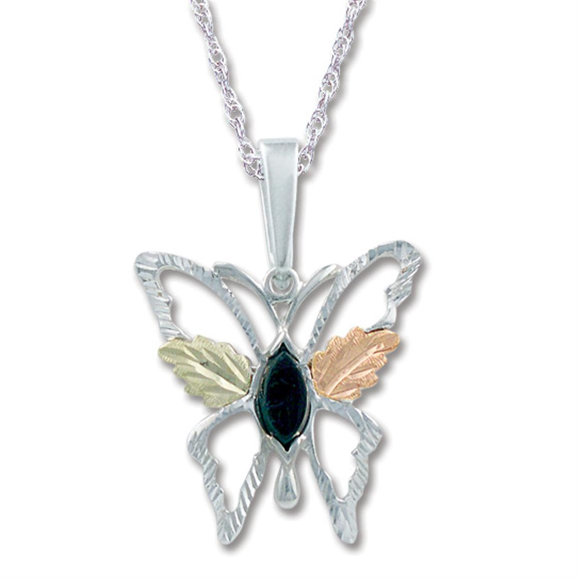 Landstrom's® Sterling Silver Butterfly Pendant with Onyx