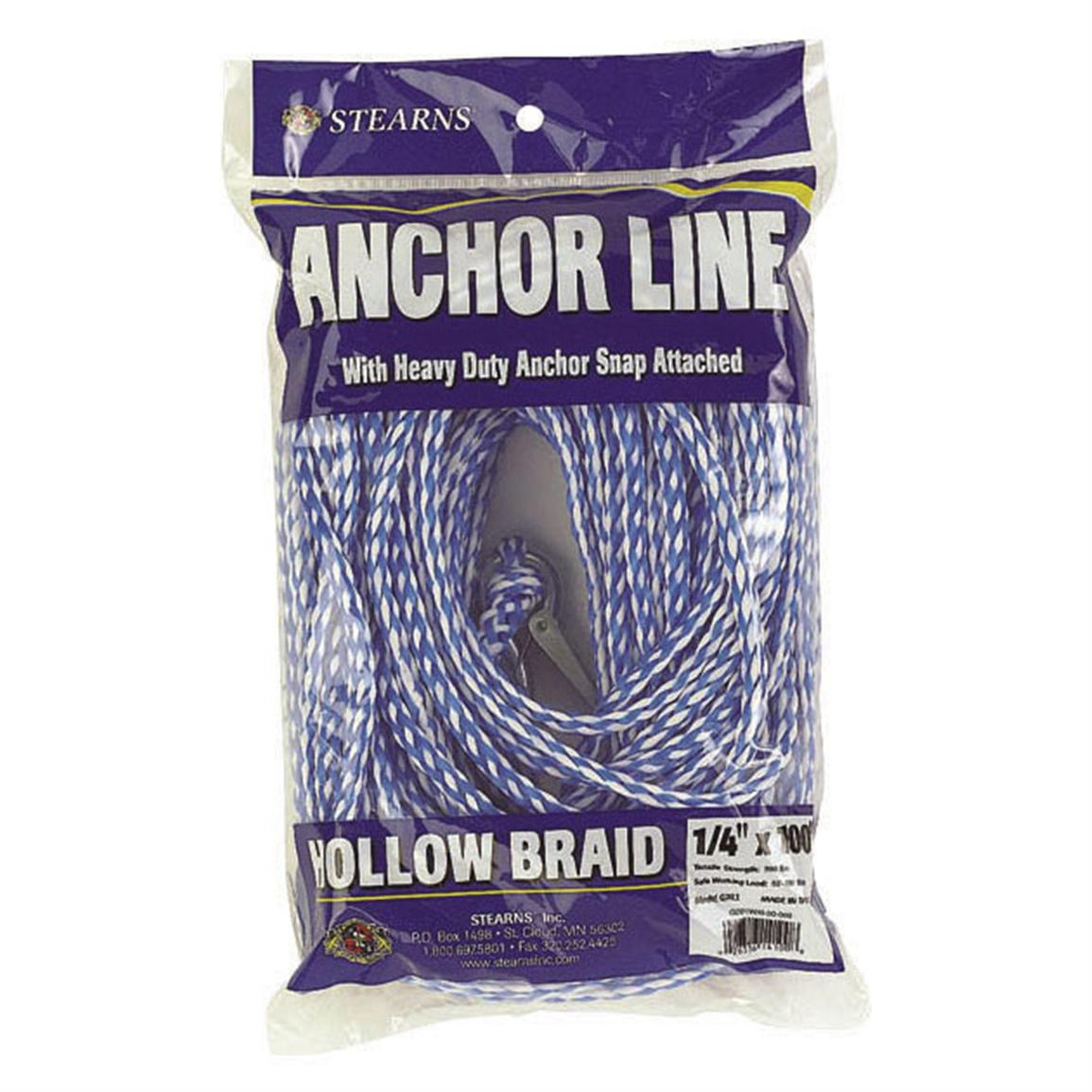 "100' Stearns 1/4"" Hollow Braid Polypropylene, White / Blue"