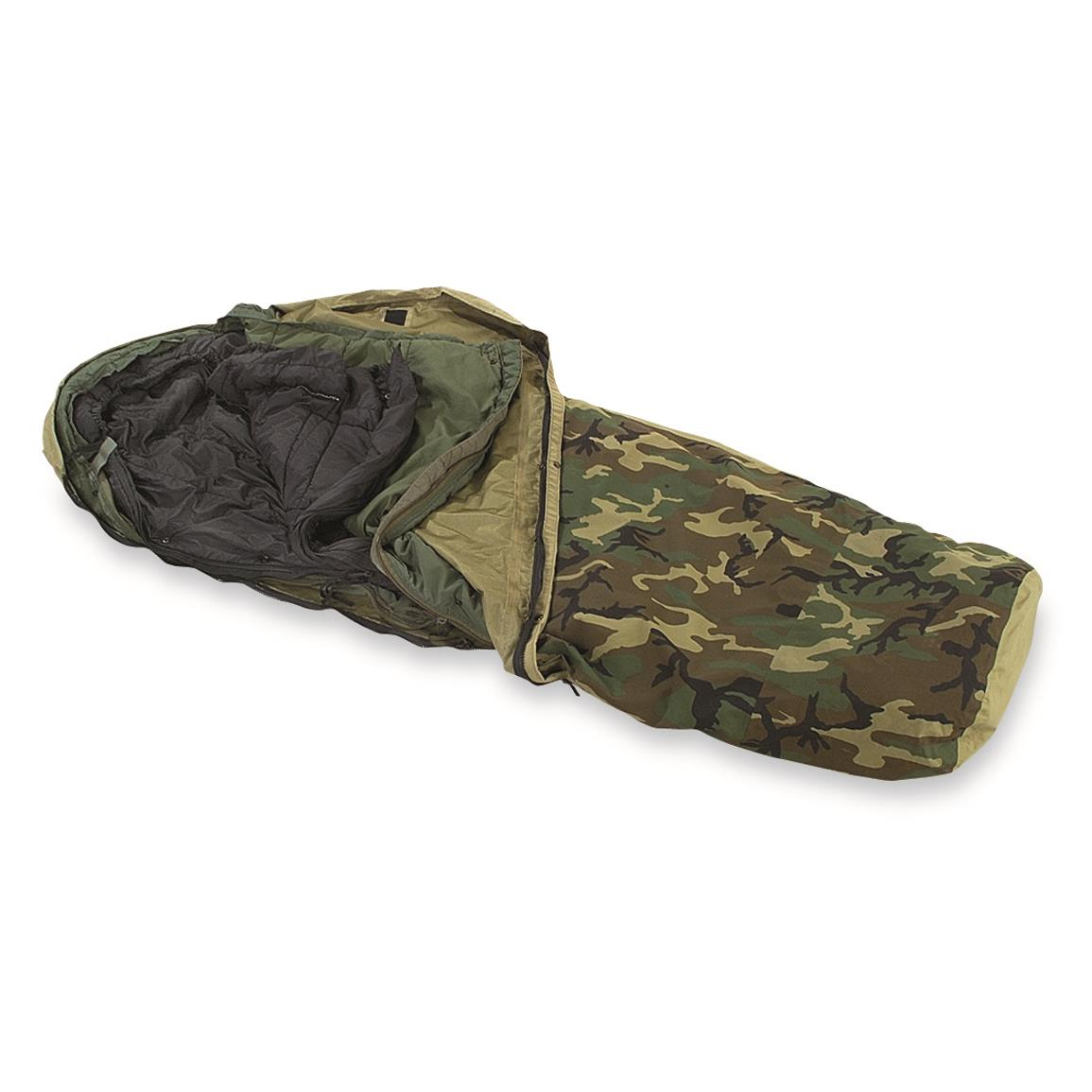 U.S. Military Surplus 3-Layer ECWS Sleeping Bag System, Used