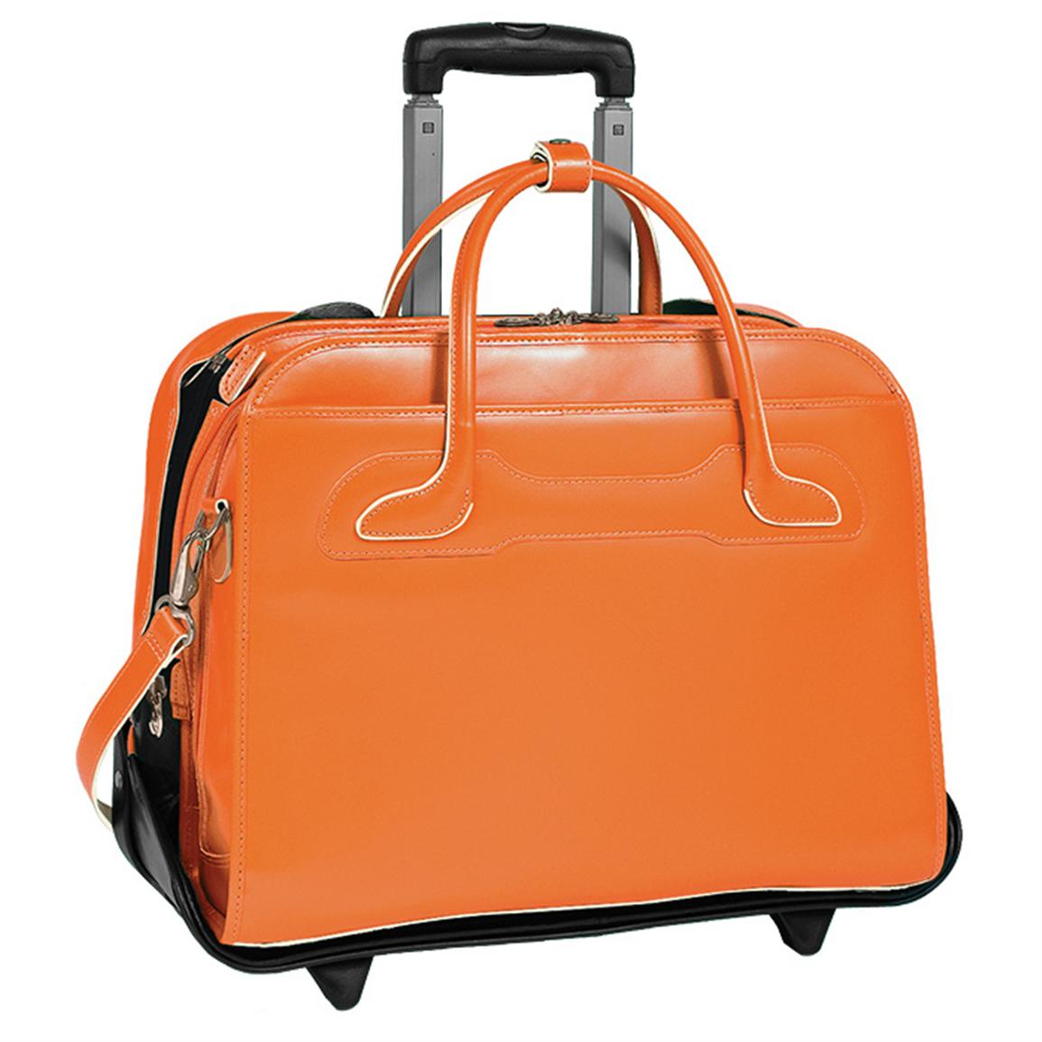 McKlein USA W Series Willowbrook Leather Detachable-Wheeled Women's Case, Orange