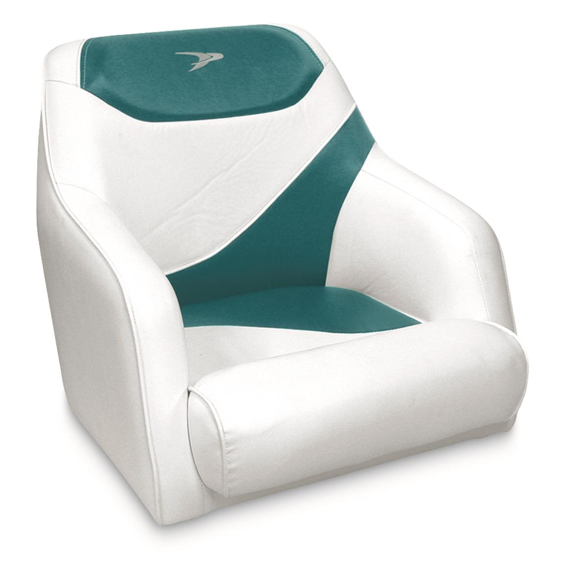 Wise Premium Deluxe Bucket Boat Seat, White/Hot Teal