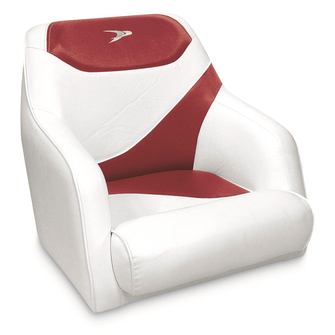 Wise Premium Deluxe Bucket Boat Seat, White/Red