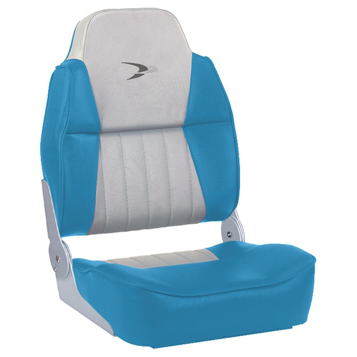 Wise® Embroidered Logo Hi-back Fishing Boat Seat, Light Blue / White