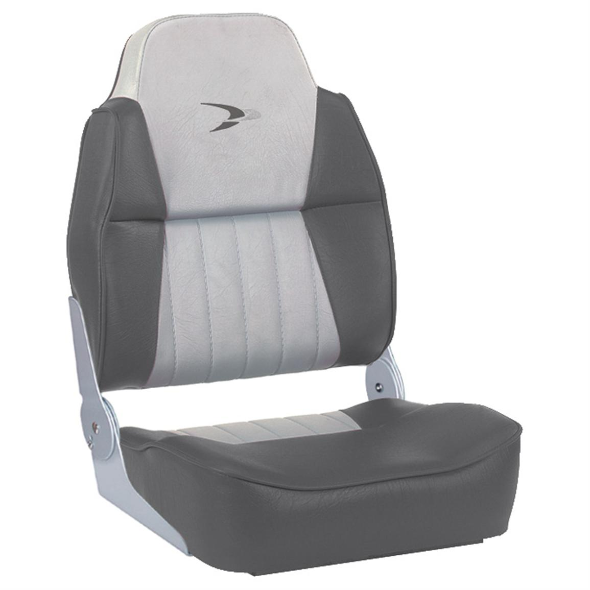 Wise® Embroidered Logo Hi-back Fishing Boat Seat, Grey / Charcoal