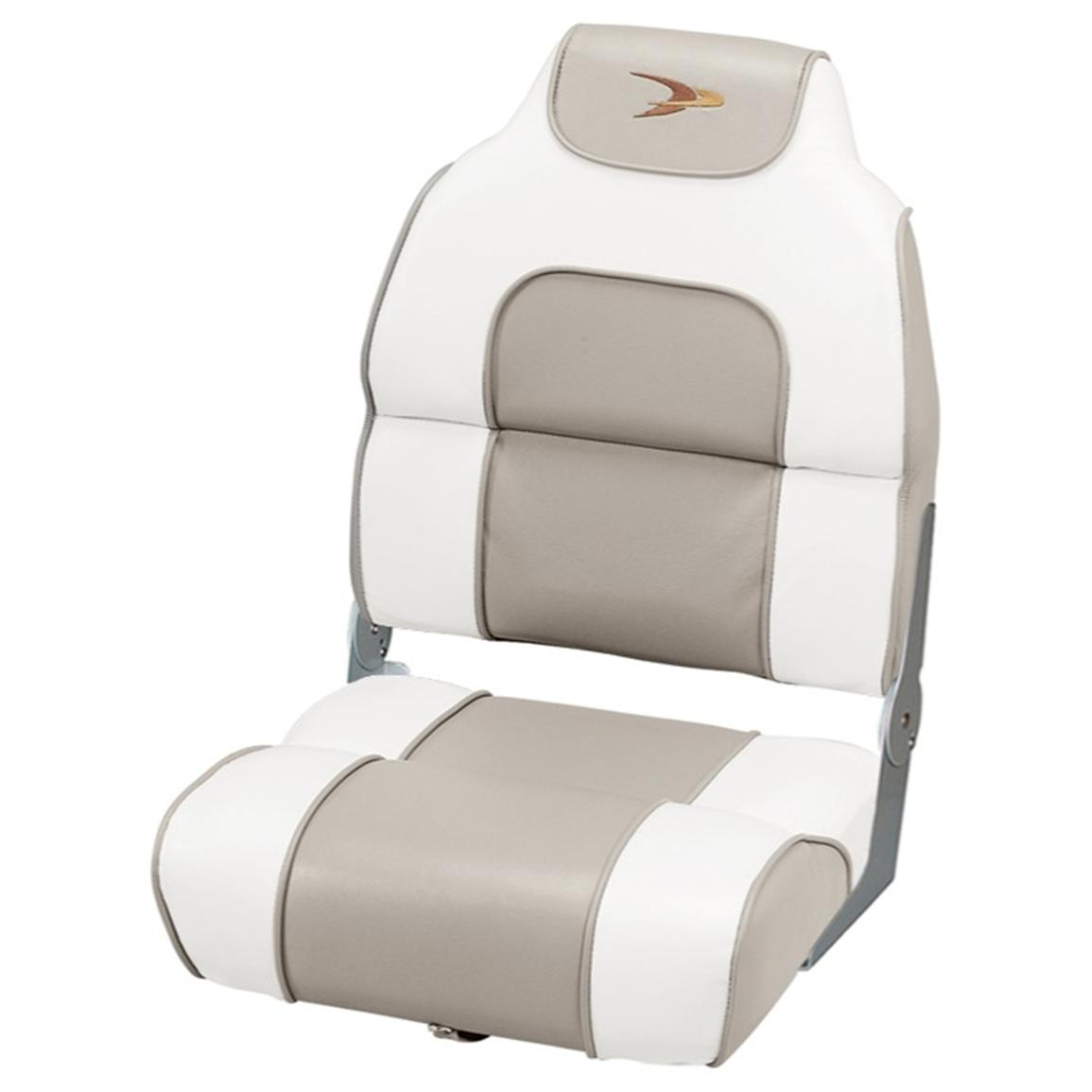 Wise® Premium Deluxe Hi-back Fishing Boat Seat, White / Khaki