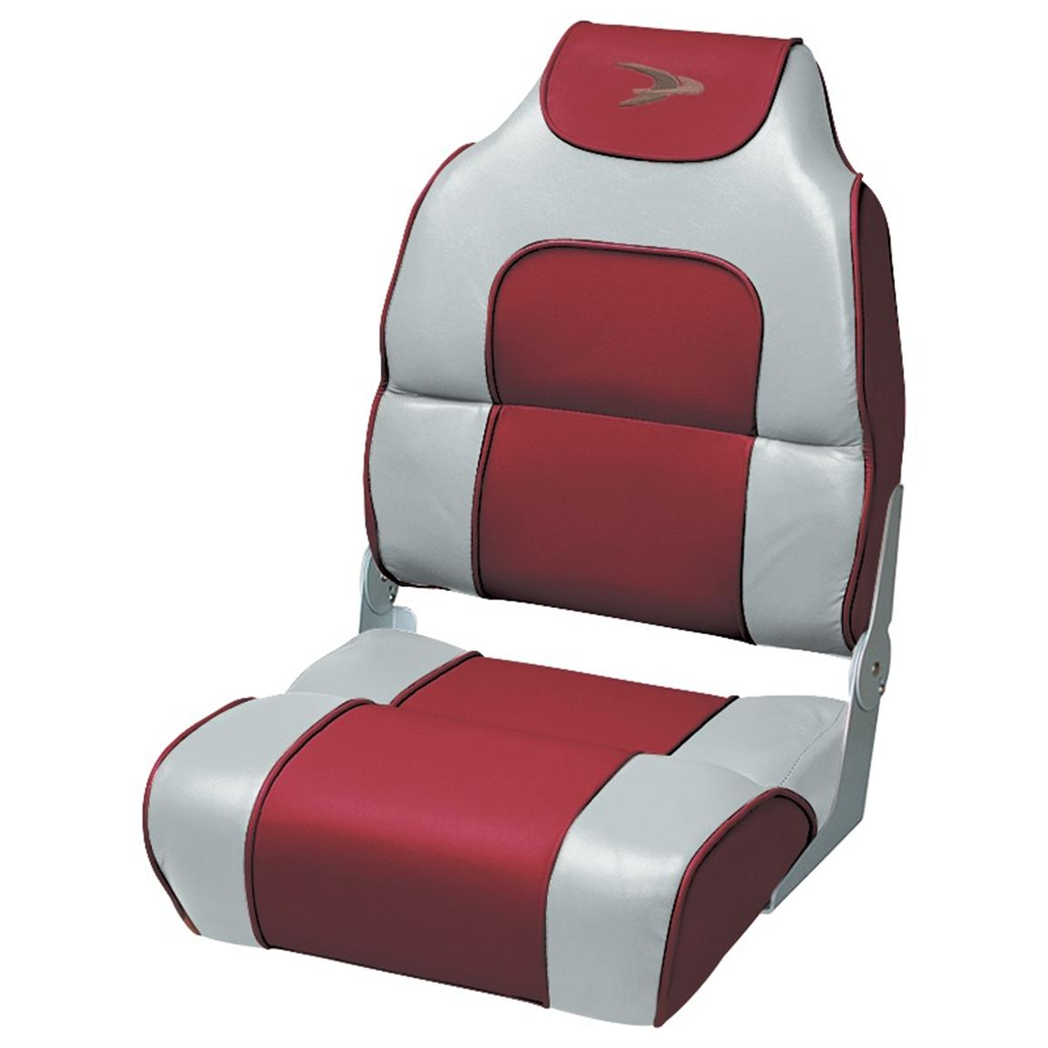Wise® Premium Deluxe Hi-back Fishing Boat Seat, Marble / Red