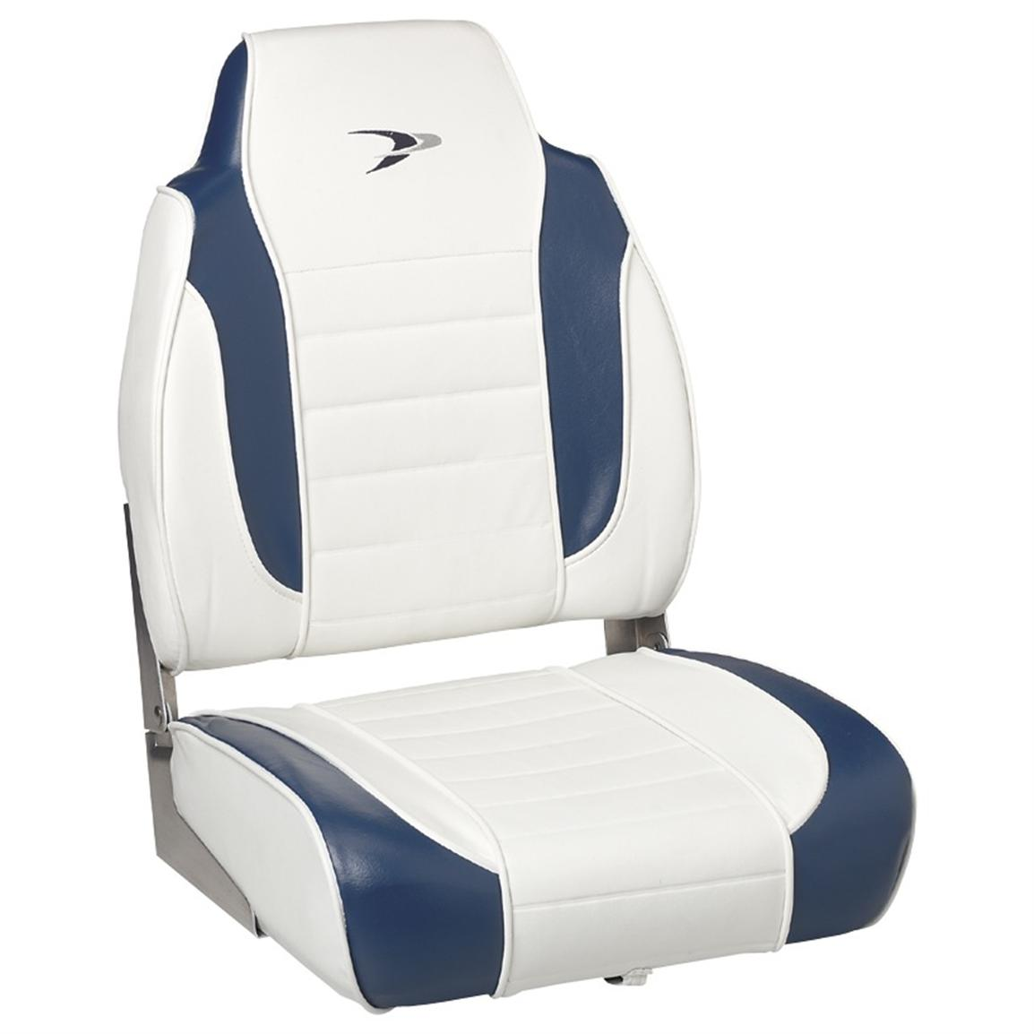 Wise® Embroidered Logo Hi-back Fishing Boat Seat, White / Midnight