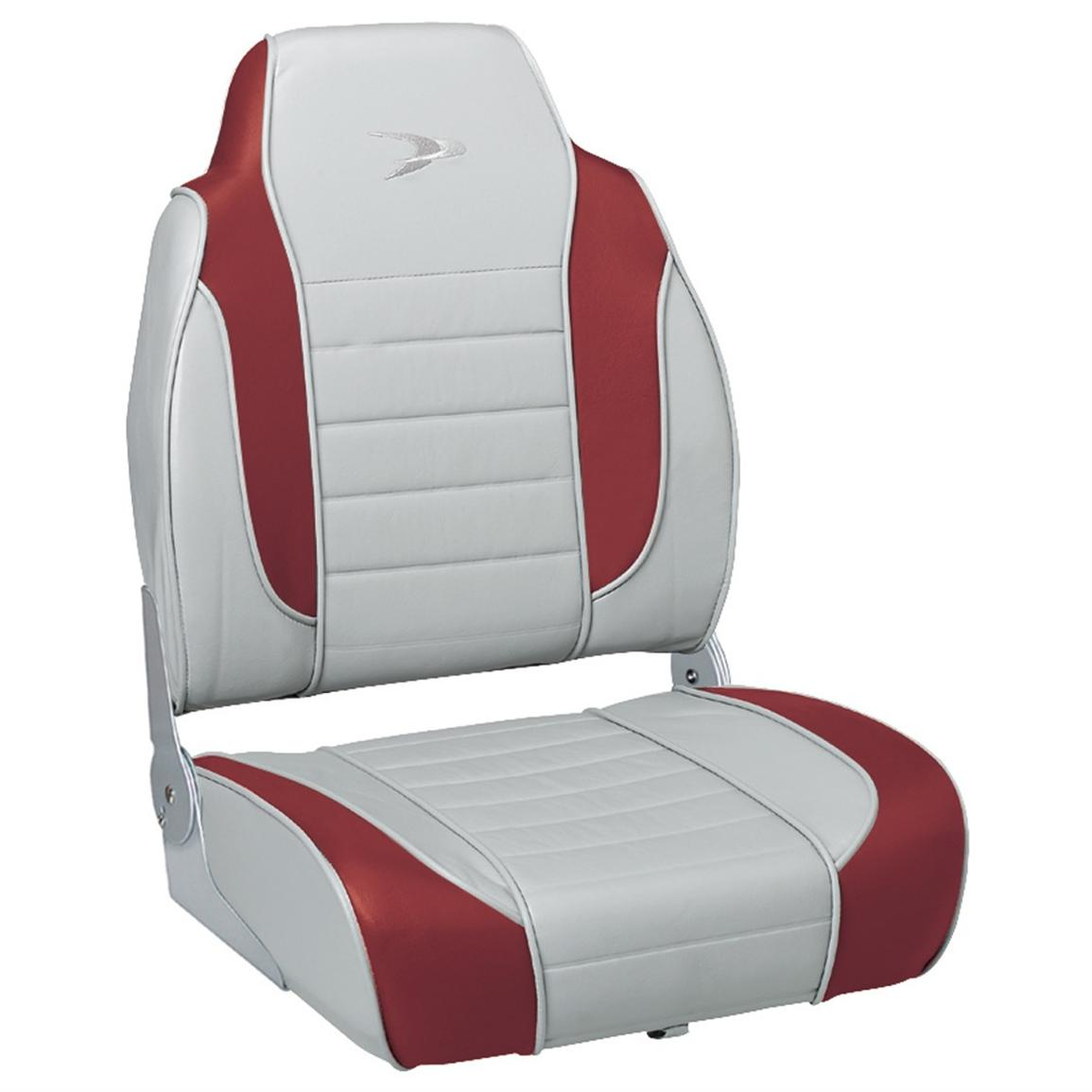 Wise® Embroidered Logo Hi-back Fishing Boat Seat, Marble / Dark Red