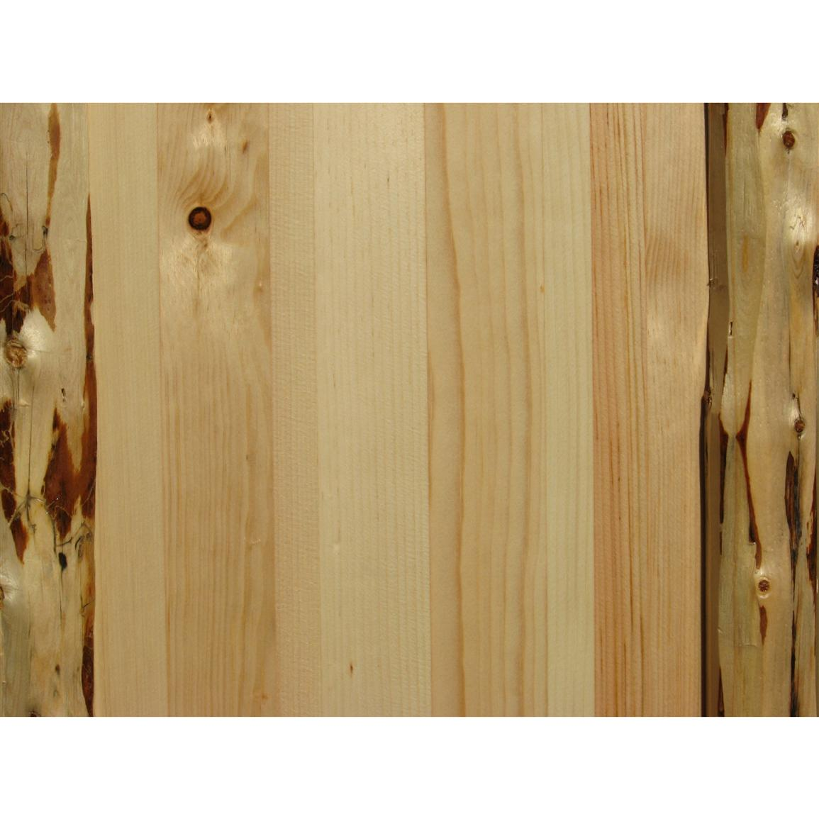 Draw knives are used to skip-peel the bark from the logs, creating a natural texture and color contrast