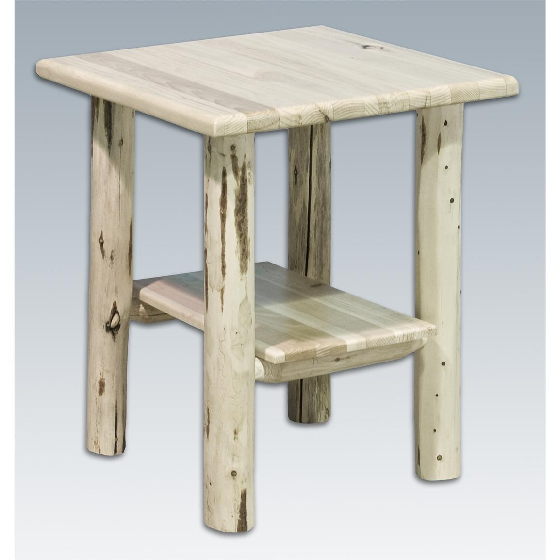 Montana Woodworks Unfinished Log Side Table