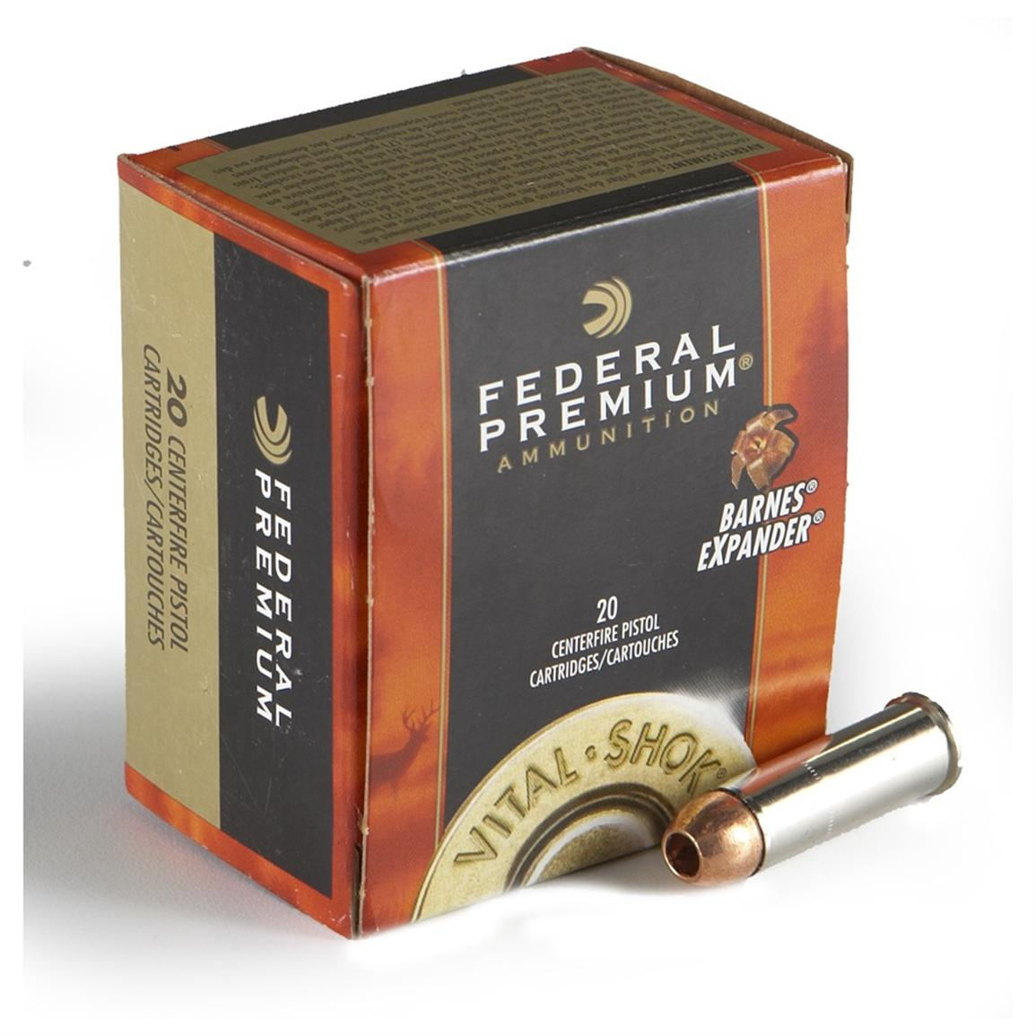 Federal, Vital-Shok, .44 Remington Magnum, Barnes Expander, 225 Grain, 20 Rounds