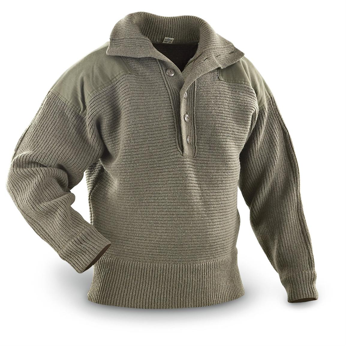 Used Austrian Heavyweight Wool Sweater Olive Drab