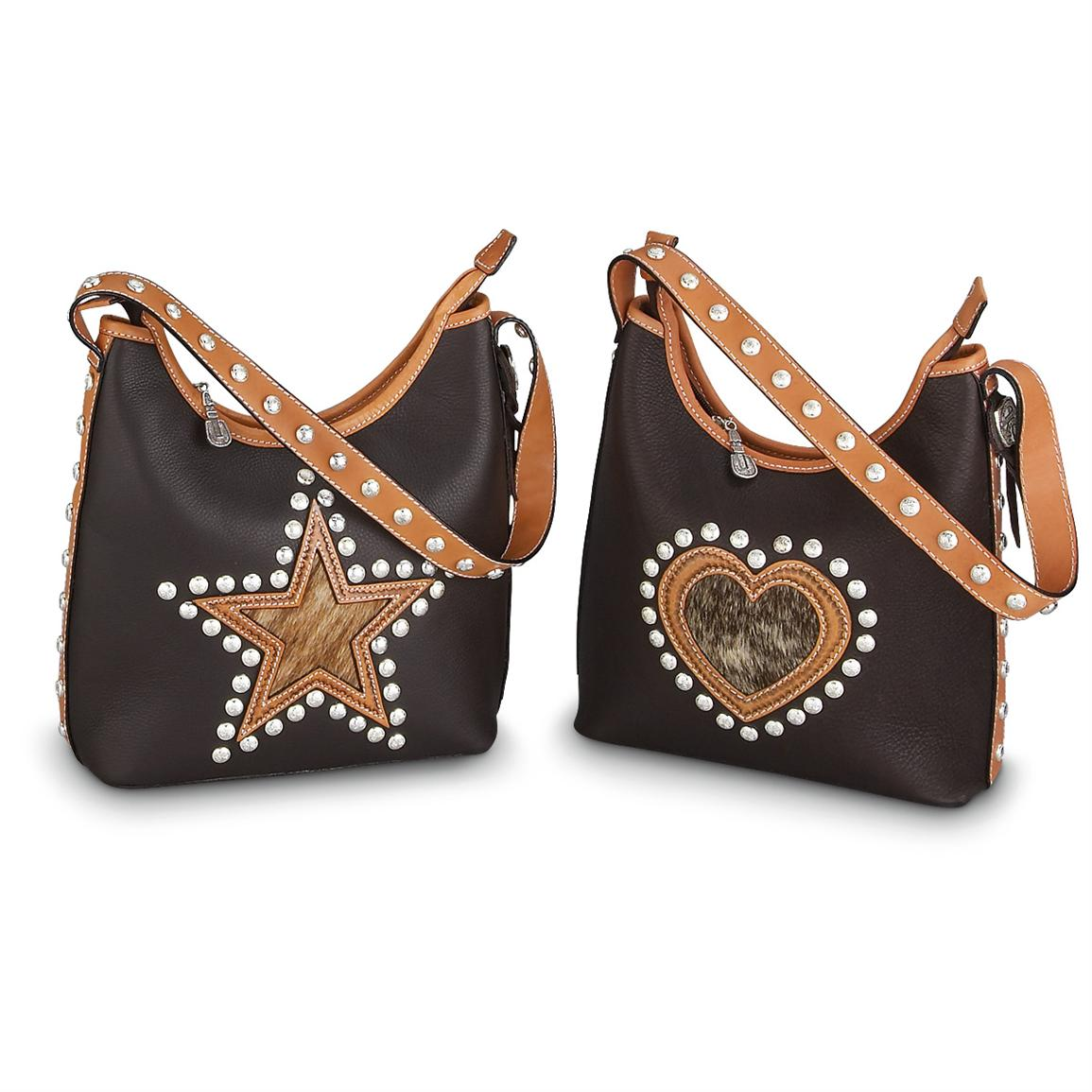 Montana Silversmiths Leather Cowhide Star Or Heart Tote