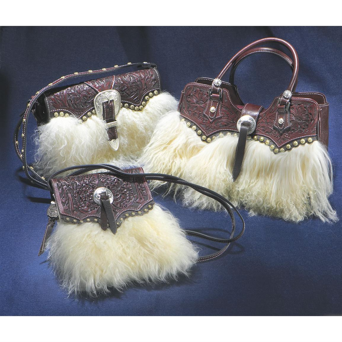 Montana Silversmiths Wooly Hand Tooled Leather Purse