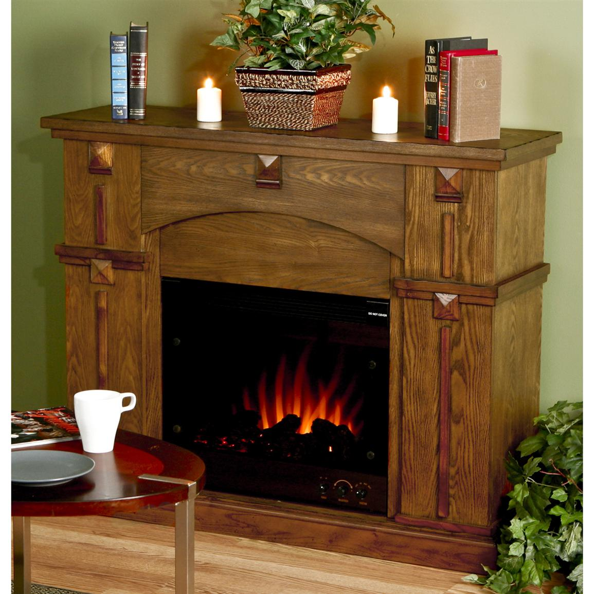Southern Enterprises Inc Mission Corbel Fireplace With Electric Insert 145318 Fireplaces At