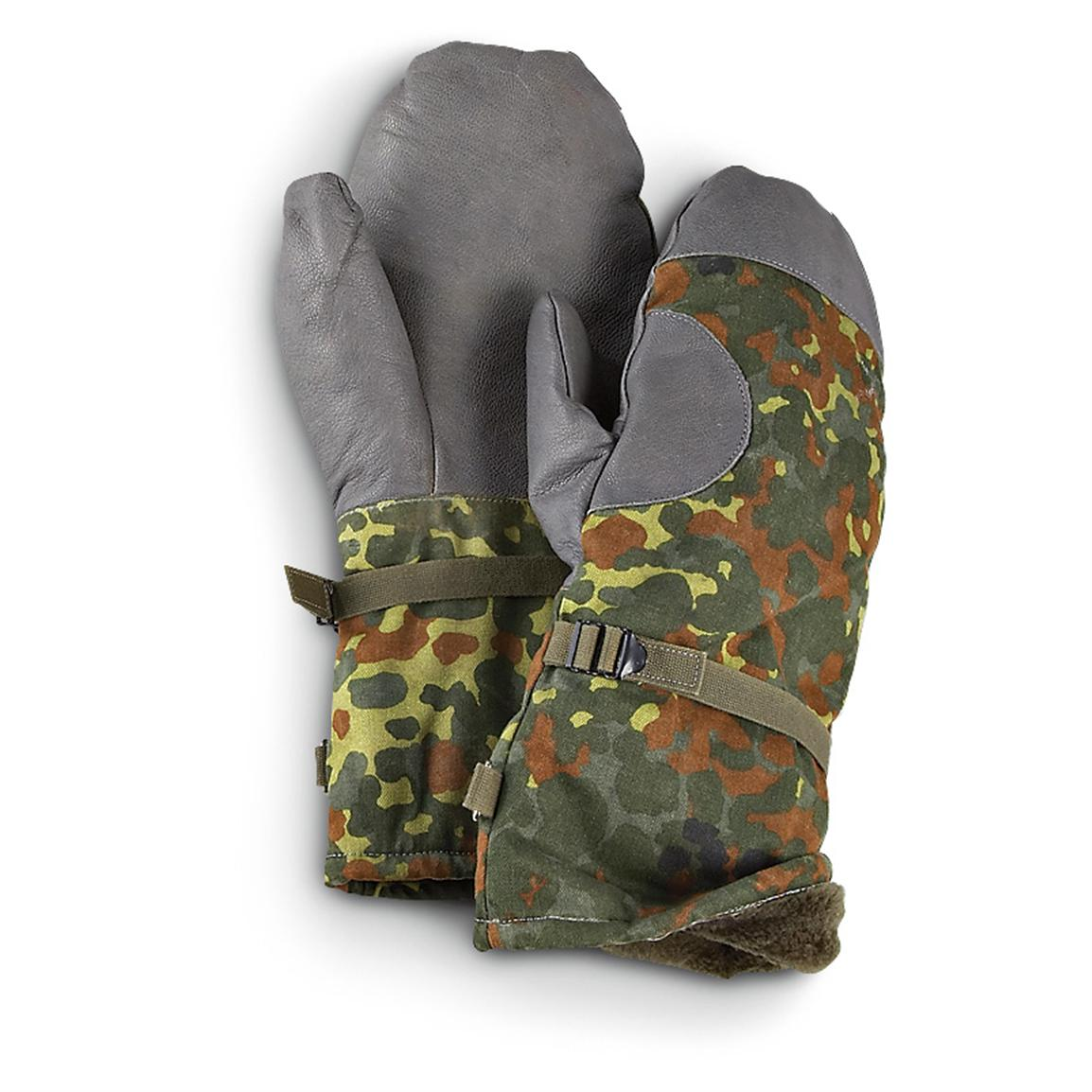 German Military Surplus Insulated Camo Mittens, 2 Pairs, Used